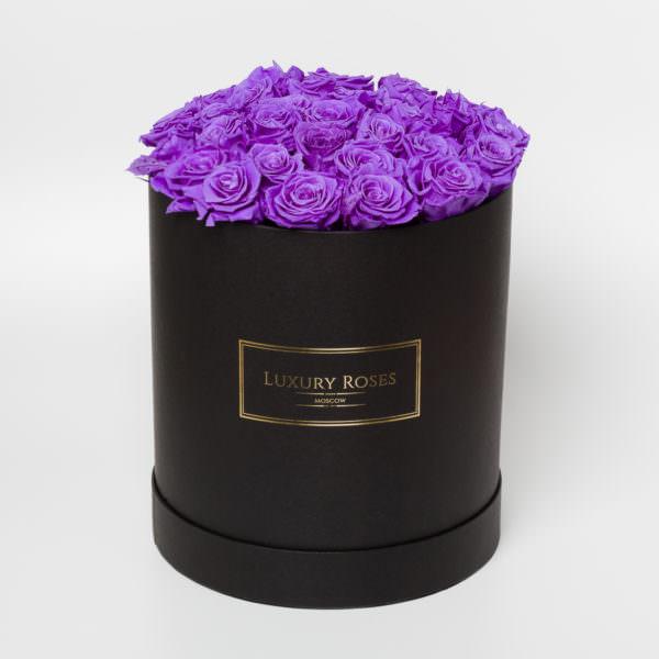 Vermont, букет фиолетовых роз в коробках фото