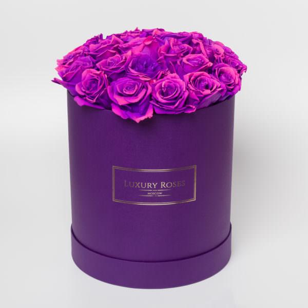 Букет фиолетовых роз в коробках фото, какие